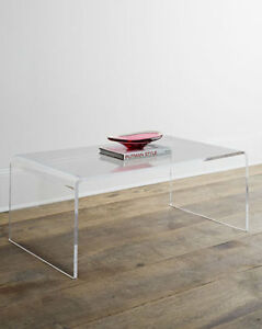 Image Is Loading Horchow Waterfall Crystalline Lucite Acrylic Coffee  Cocktail Table