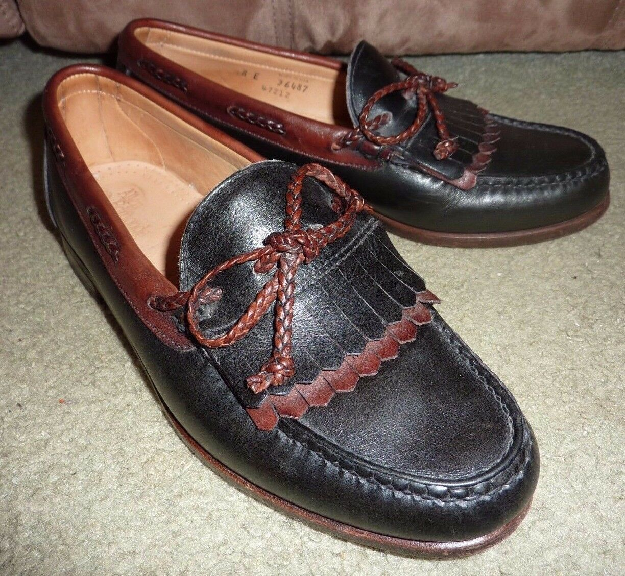 SZ 8E ALLEN EDMONDS WOODSTOCK MADE IN USA 2 TONE BROWN LEATHER MOCCASIN LOAFERS