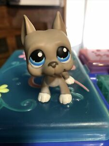 Pet Shop LPS Great Dane 184 Grey Blue Eye  Dog Figures Toys Kid/'s Gift