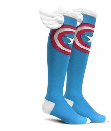 Captain America Super Hero Knee High Socks Marvel Unisex Avengers GIFT NEW