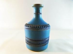 Kleine-70er-Retro-Vintage-Vase-Ton-handgefertigt-15-cm-hoch-tuerkis