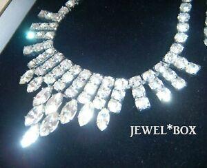 EARLIER-VINTAGE-Art-Deco-Clear-MARQUISE-Drop-Crystal-Rhinestone-Bridal-NECKLACE