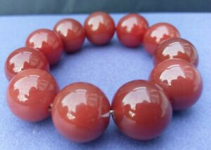 20mm Carnelian Agate Beads Stretchy Bracelet
