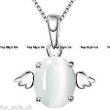 925 Sterling Silver White Moonstone Angel Wing Necklace Pendant Gift for Wife