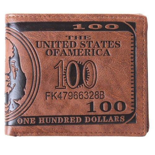 Faux Leather Men Bifold US Dollar Bill Wallet Fashion Photo Card Holder HZ