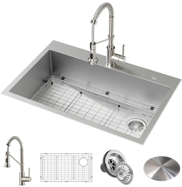 Kitchen Sink 2-Hole Single Bowl Dual Mount Drop-In Stainless Steel Durable