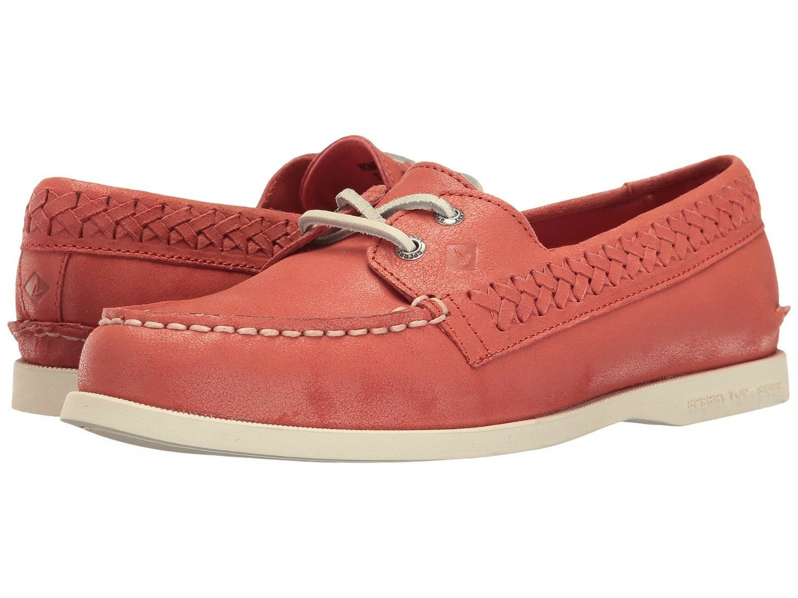 Sperry Top-Sider Women Quinn Boat Shoes True- Moc Slip-on Leather Coral 7.5,8,9