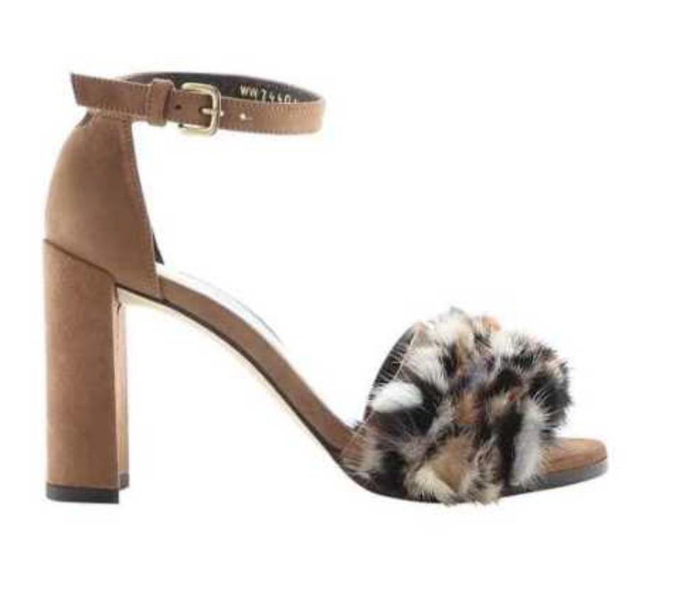 Stuart Weitzman Weitzman Weitzman Icelandia Mink Trim Block Heel Sandal Taupe Mink Strappy 8.5 NEW db9a61