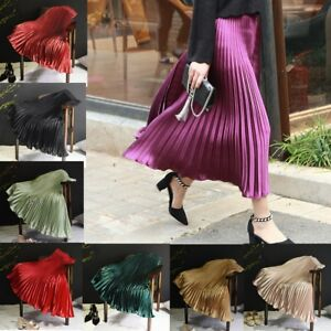 Women-Vintage-Colors-Pleated-Swing-Midi-Skirt-Elastic-Waist-Flared-Skater-Skirts