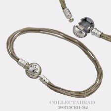"Authentic Pandora Sterling Silver Khaki Multi-Strand Color Cord 7.9"" 590715CKH"