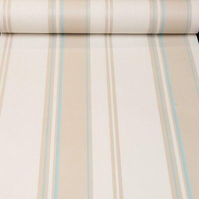 Rasch Beige Cream White Silver Stripe Textured Vinyl Wallpaper Neutral  474749