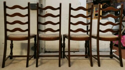 Matching Four (4) Solid Solid Oak Ladder Back Old Colonial Style Chairs