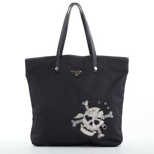 8ecb4ad36930 Image is loading PRADA-Skull-robot-black-nylon-saffiano-leather-handle-