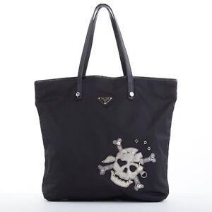 Image is loading PRADA-Skull-robot-black-nylon-saffiano-leather-handle- 2cf694287b2dc