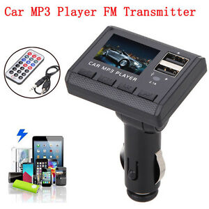 Car-Music-MP3-Player-FM-Transmitter-Modulator-Dual-USB-Charging-SD-MMC-Remote-UK