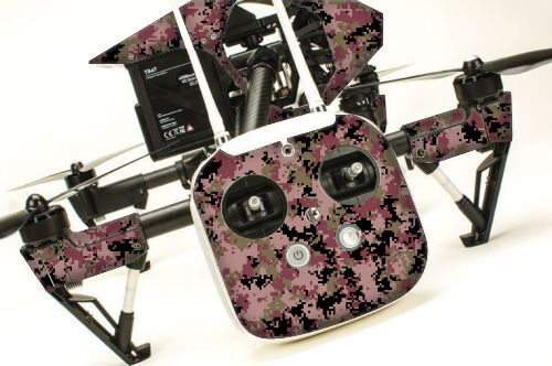 DJI Inspire 1 graphic skins w 6 Batteries Transmitter Decals   Digi Camo Red