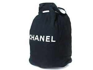 c71c190cbf47fd Image is loading Authentic-CHANEL-Black-Cotton-Canvas-Drawstring-Backpack- Bag-
