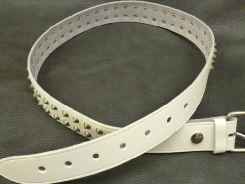 Real Leather Belt 38mm H2b White Gothic Vintage Punk 2 Row Conical Studded