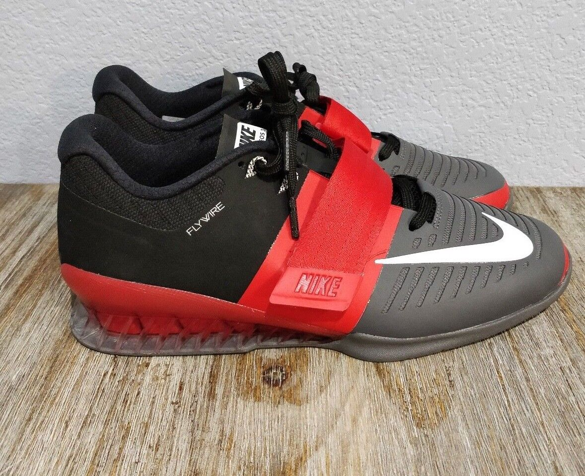 new products 84181 b2fea Nike Romaleos 3 3 3 Trainers Grey Red White 852933-600 Crossfit  Weightlifting 81094f