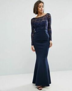 RRP-65-ASOS-City-Goddess-Petite-Fishtail-Maxi-Dress-With-Lace-Sleeves-And-Bow