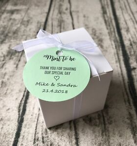 Details About 40x Mint To Be White Wedding Favor Boxes Thank You Gift Boxes Personalized Tags
