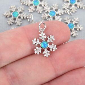 Silver SNOWFLAKE Charm Micro pave White faux opal and CZ cubic zirconia chs4898