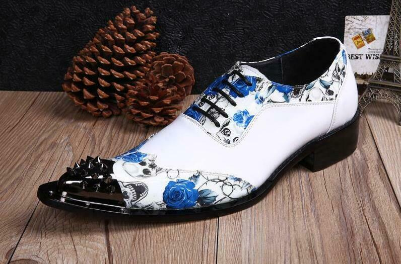 Mens Pointed Toe Floral Metal Rivet Lace Up Low Top Leisure Wedding White shoes