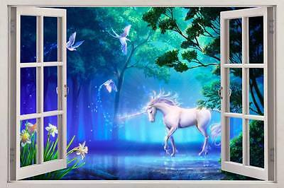 Unicorn Fantasy 3D Window View Decal WALL STICKER Art Mural Legendary Animals