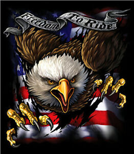 Freedom To Ride Biker T Shirt With Eagle And American Flag