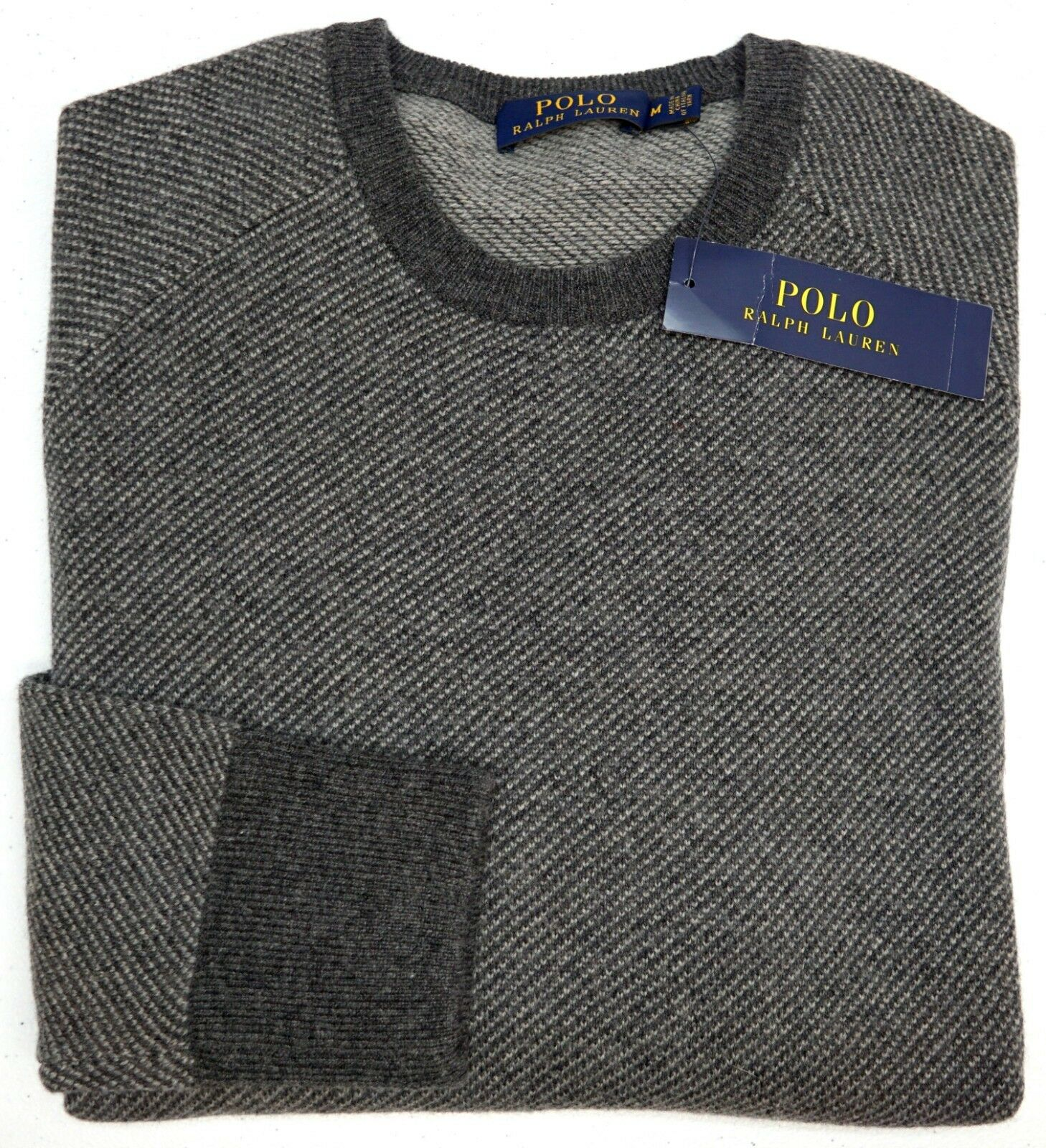 NWT 225 Polo Ralph Lauren LS Merino Wool TextuROT grau Sweater Men M L NEW Grau
