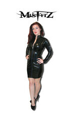 Misfitz black gloss pvc zip front sexy mistress dress size 16