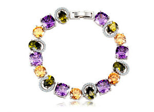 18K-GP-Super-Shining-Multi-Colore-amp-Shaped-Cubic-Zirconia-Bracelet