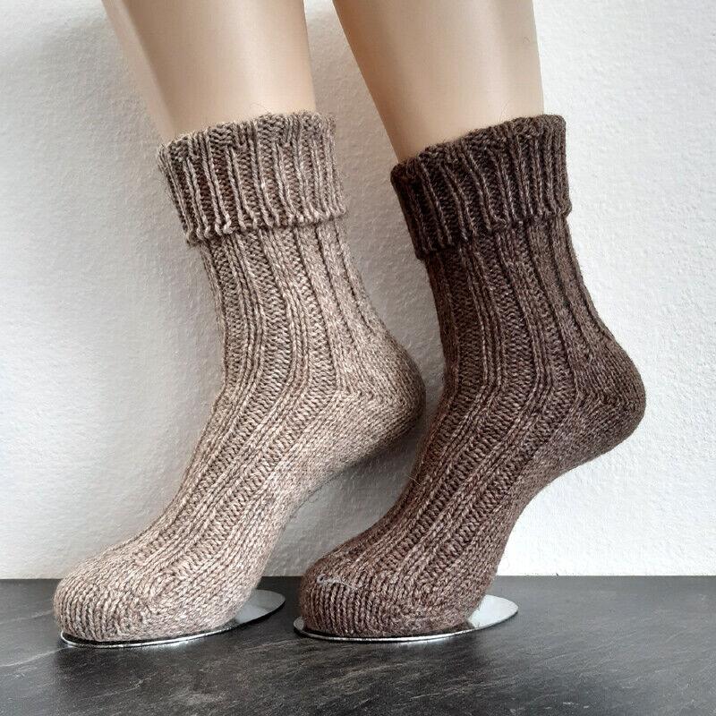 2 Paar Damen MH Alpaka Socken mit Umschlag Grobstrick 100% Wolle Braun 35 bis 42