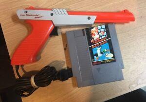Orange-Nintendo-NES-Zapper-Light-Gun-Plus-Super-Mario-Bros-Duck-Hunt-Game
