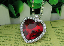 9k Real White Gold Filled Titanic Red Diamond Heart Shape Necklace & Pendant BN