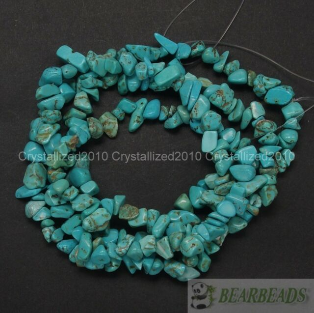 Natural Green Turquoise Gemstone 5mm - 8mm Chip Spacer Beads 35'' Jewelry Crafts