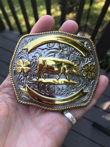 NEW 4H 4-H Trophy Belt buckle for swine pigs boar  22k Gold Plated.
