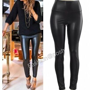 5a977e08794 NWT SeXY WoMeNS HiGH WaiSTeD LeGGiNGS FauX LeaTHeR TuMMY CoNTRoL ...
