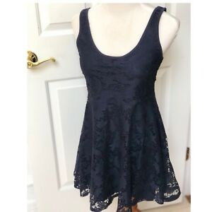 NWOT-Aeropostale-Navy-Blue-Lace-Dress-Size-M-8-10-Scoop-Neck-Holiday-Party
