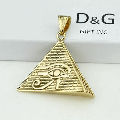 "DG Men/'s 24/"" Gold Stainless-Steel,Pyramid Egyptian Eye,Charm.Curb Chain*Box"