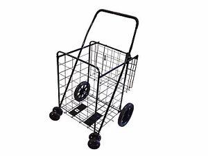 Shopping Cart Jumbo Folding Swivel Wheel Extra Basket
