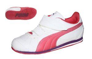 Puma-Esito-2S-V-Kids-Baby-Schuhe-Maedchen-Sneaker-weiss-rosa-Klettverschluss-19-22