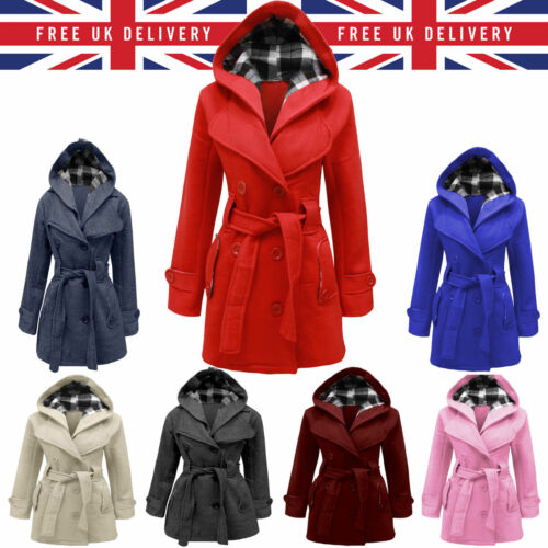HOT Donna Giacca in pile con cappuccio inverno con cintura Montgomery Outwear UK SMLX