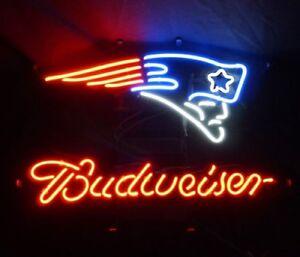 Details About 17 X14 Budweiser England Patriots Bud Light Neon Sign Beer Bar Wall Lighting
