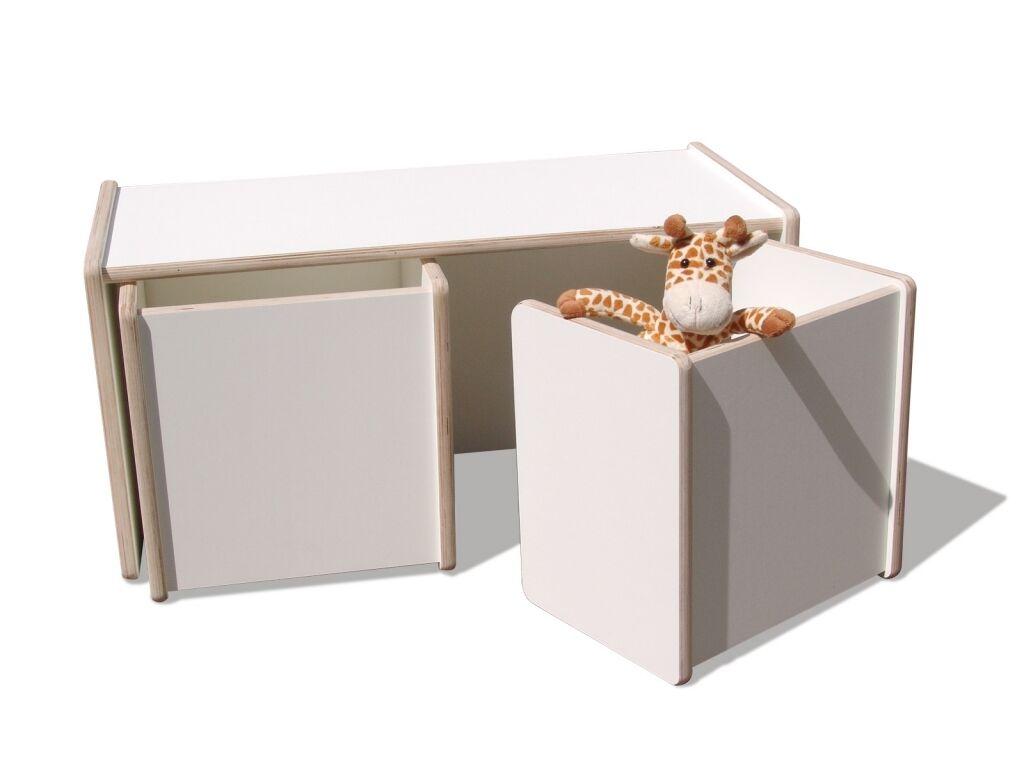 1 enfants tournant table & 2 tournant tabouret set-Blanc-premium-terminé assemblés