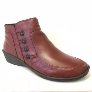 Moshulu Fruit Drop Ladies Womens Leather Zip Flat Wedge Block Heel Ankle Boots
