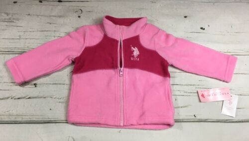 Fleece Zip Front Jacket Pink NWT Baby Girls Size 3-6M 6-9M 18M US POLO ASSN