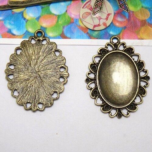 15PCS Antiqued Bronze 25X18mm Ornate Oval pendant blanks #23135