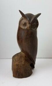 Vintage-Carved-Hard-Wood-Sitting-Owl-Sculpture-Figure