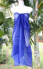 Sheer Sarong NAVY DARK BLUE Beach Coverup Hawaii Pareo Bikini Wrap Skirt Dress